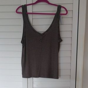 American Eagle Olive Striped Tank Top